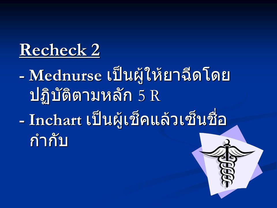 Recheck 2 - Mednurse เป็นผู้ให้ยาฉีดโดย ปฏิบัติตามหลัก 5 R - Inchart เป็นผู้เช็คแล้วเซ็นชื่อ กำกับ
