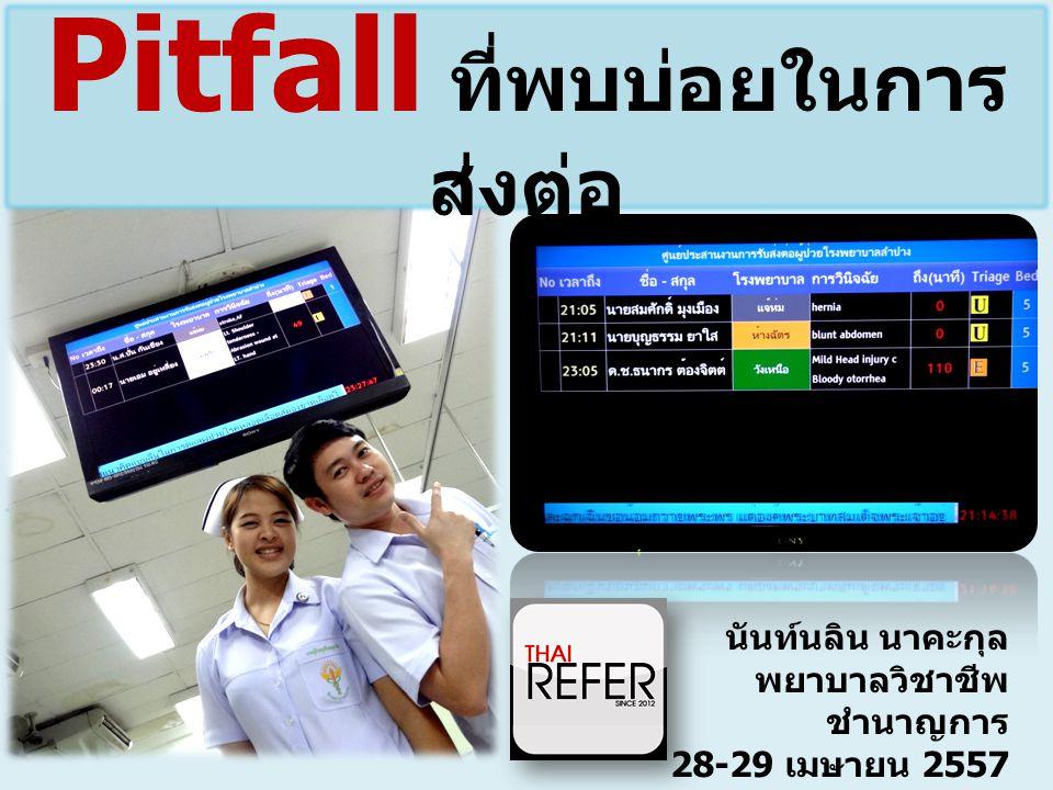 นันท์นลิน นาคะกุล พยาบาลวิชาชีพ ชำนาญการ 28-29 เมษายน 2557 แนวทางการส่งต่อผู้ป่วย โดยใช้โปรแกรม ThaiRefer Pitfall ที่พบบ่อยในการ ส่งต่อ