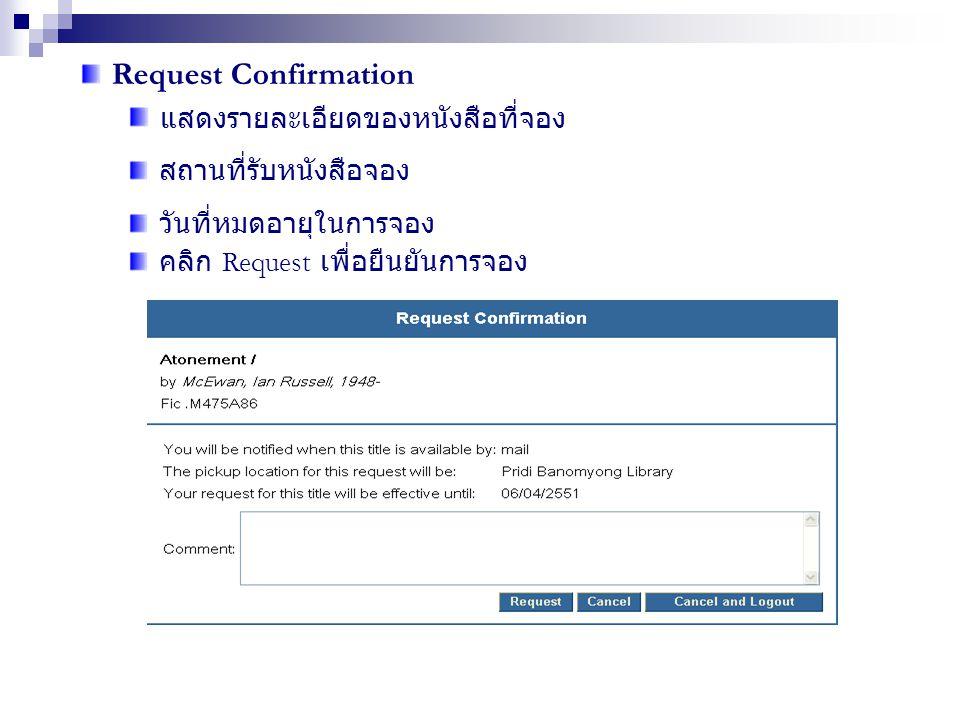 Request Confirmation แสดงรายละเอียดของหนังสือที่จอง สถานที่รับหนังสือจอง วันที่หมดอายุในการจอง คลิก Request เพื่อยืนยันการจอง