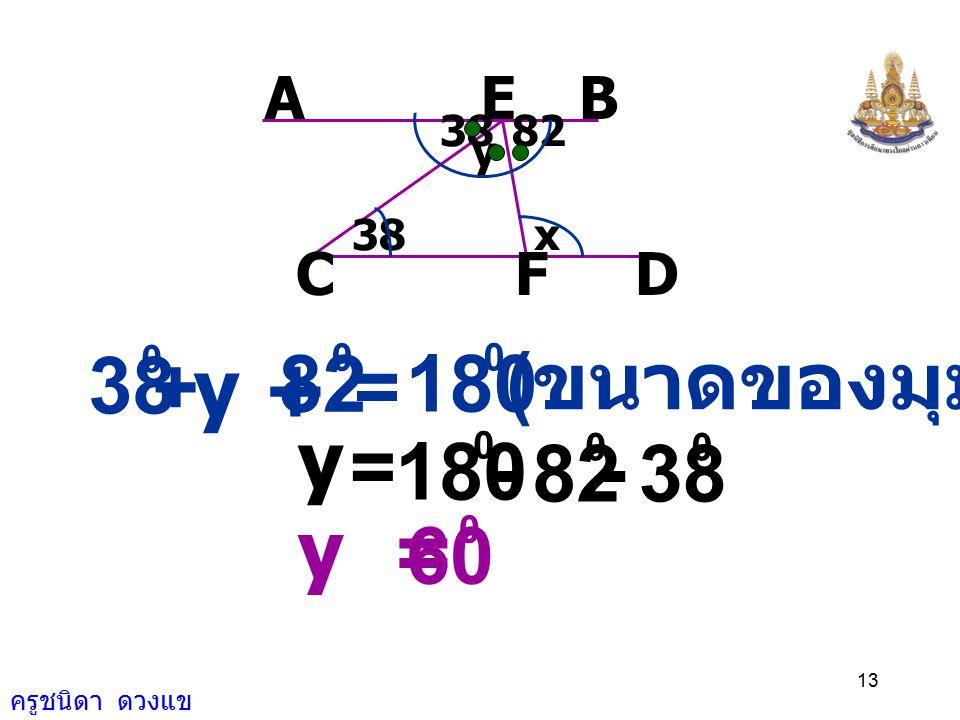 ครูชนิดา ดวงแข 12 8238 y x AEB FCD = 180 0 x + 82 0 ( ขนาดมุมภายในบนข้างเดียวกันของ เส้นตัดเส้นขนานรวมกันเท่ากับ 180 ) = 180 0 x 82 0 - x = 98 0