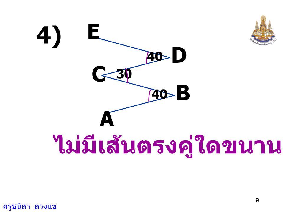 ครูชนิดา ดวงแข 19 A D O CB เนื่องจาก DAO ˆ แ ละ CBO ˆ เป็นมุมแย้ง ดังนั้น AD // BC ( ถ้าเส้นตรงเส้นหนึ่ง ตัดเส้นตรงคู่หนึ่ง ทำให้มุมแย้งเท่ากัน แล้วเส้นตรงคู่นั้น ขนานกัน )
