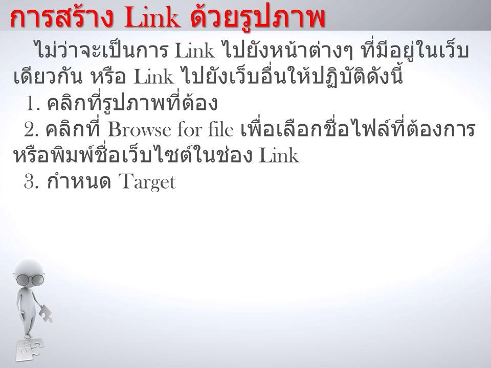 การสร้าง Link ด้วยรูปภาพ ไม่ว่าจะเป็นการ Link ไปยังหน้าต่างๆ ที่มีอยู่ในเว็บ เดียวกัน หรือ Link ไปยังเว็บอื่นให้ปฏิบัติดังนี้ 1.
