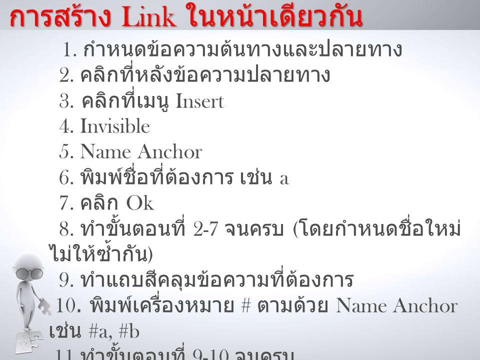 การสร้าง Link ในหน้าเดียวกัน 1.กำหนดข้อความต้นทางและปลายทาง 2.