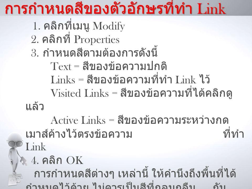 การกำหนดสีของตัวอักษรที่ทำ Link 1.คลิกที่เมนู Modify 2.