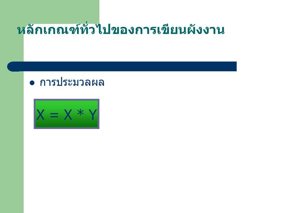 หลักเกณฑ์ทั่วไปของการเขียนผังงาน การประมวลผล X = X * Y