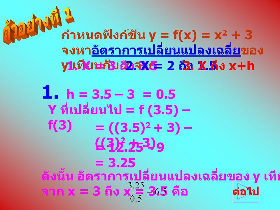 กำหนดฟังก์ชัน y = f(x) = x 2 + 3 จงหาอัตราการเปลี่ยนแปลงเฉลี่ยของ y เทียบกับ x จาก 1. X = 3 ถึง 3.52. X = 2 ถึง 1.53. X ถึง x+h = ((3.5) 2 + 3) – ((3)