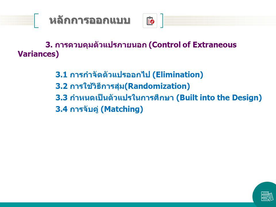 3. การควบคุมตัวแปรภายนอก (Control of Extraneous Variances) 3.1 การกำจัดตัวแปรออกไป (Elimination) 3.2 การใช้วิธีการสุ่ม(Randomization) 3.3 กำหนดเป็นตัว
