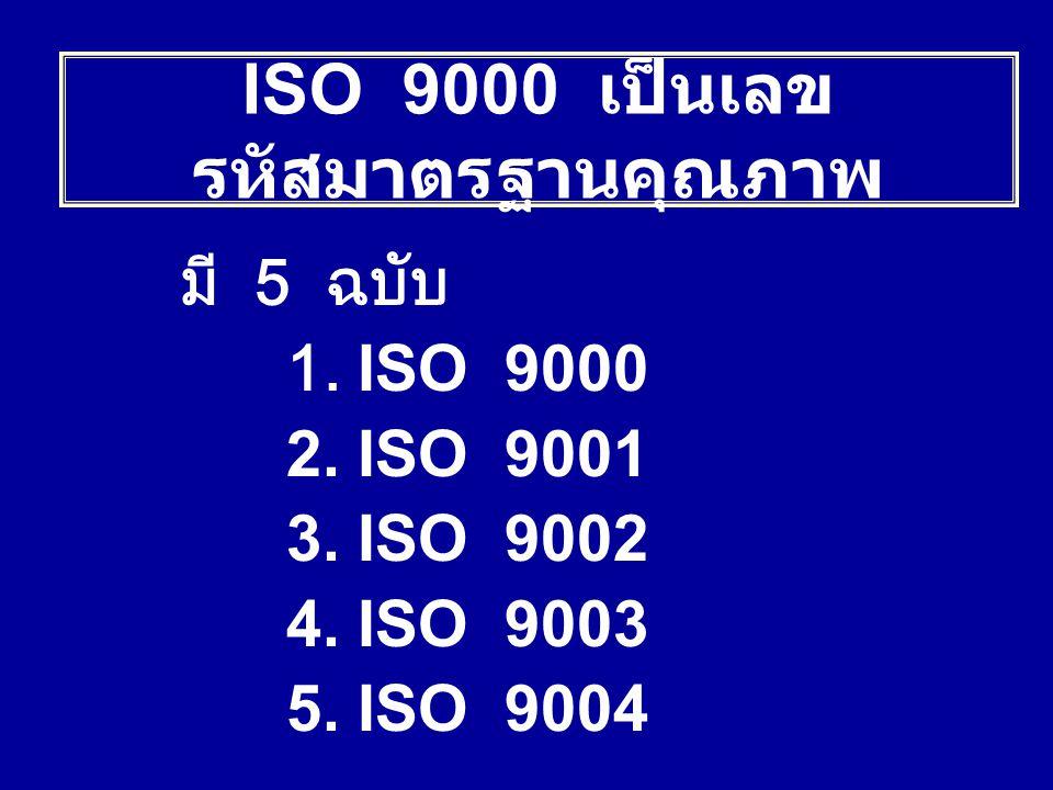 มี 5 ฉบับ 1. ISO 9000 2. ISO 9001 3. ISO 9002 4. ISO 9003 5. ISO 9004 ISO 9000 เป็นเลข รหัสมาตรฐานคุณภาพ
