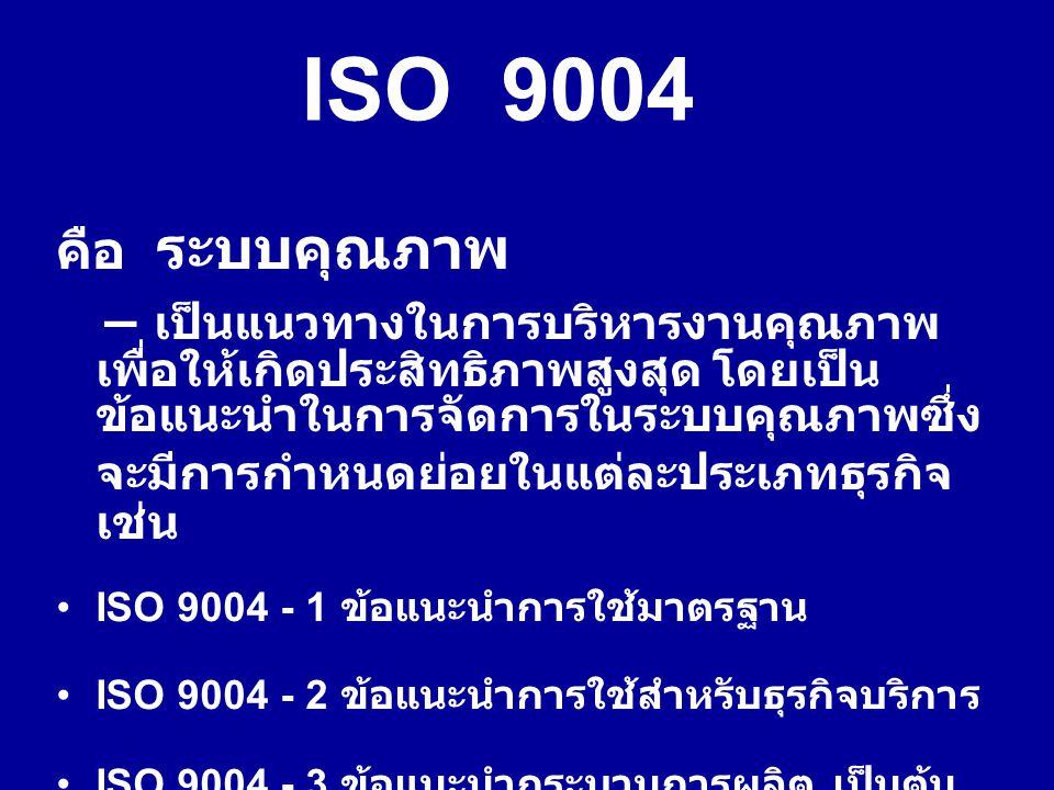 คือ ระบบคุณภาพ – เป็นแนวทางในการบริหารงานคุณภาพ เพื่อให้เกิดประสิทธิภาพสูงสุด โดยเป็น ข้อแนะนำในการจัดการในระบบคุณภาพซึ่ง จะมีการกำหนดย่อยในแต่ละประเภทธุรกิจ เช่น ISO 9004 - 1 ข้อแนะนำการใช้มาตรฐาน ISO 9004 - 2 ข้อแนะนำการใช้สำหรับธุรกิจบริการ ISO 9004 - 3 ข้อแนะนำกระบวนการผลิต เป็นต้น ISO 9004