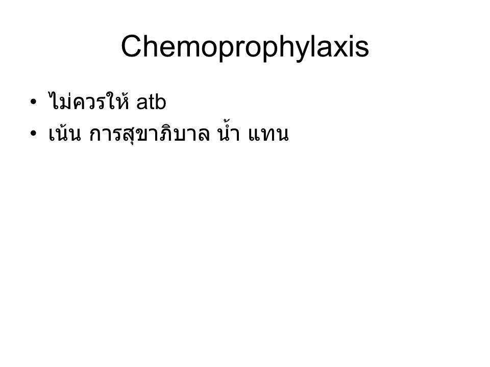 Chemoprophylaxis ไม่ควรให้ atb เน้น การสุขาภิบาล น้ำ แทน