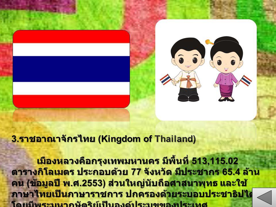 3. ราชอาณาจักรไทย (Kingdom of Thailand) เมืองหลวงคือกรุงเทพมหานคร มีพื้นที่ 513,115.02 ตารางกิโลเมตร ประกอบด้วย 77 จังหวัด มีประชากร 65.4 ล้าน คน ( ข้