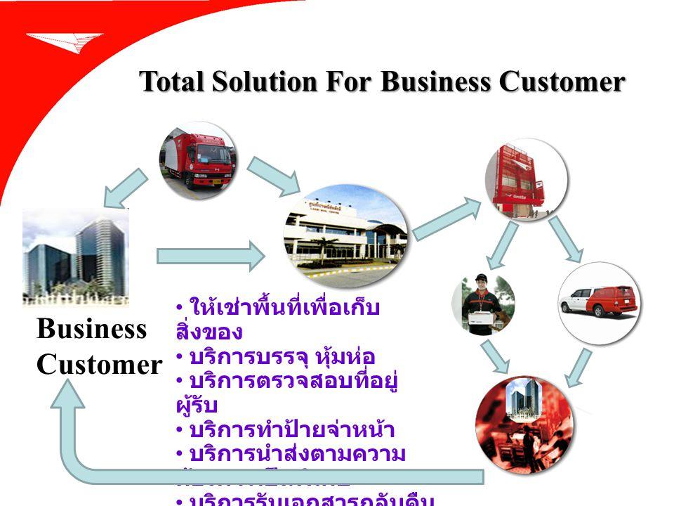 Total Solution For Business Customer Business Customer ให้เช่าพื้นที่เพื่อเก็บ สิ่งของ บริการบรรจุ หุ้มห่อ บริการตรวจสอบที่อยู่ ผู้รับ บริการทำป้ายจ่า