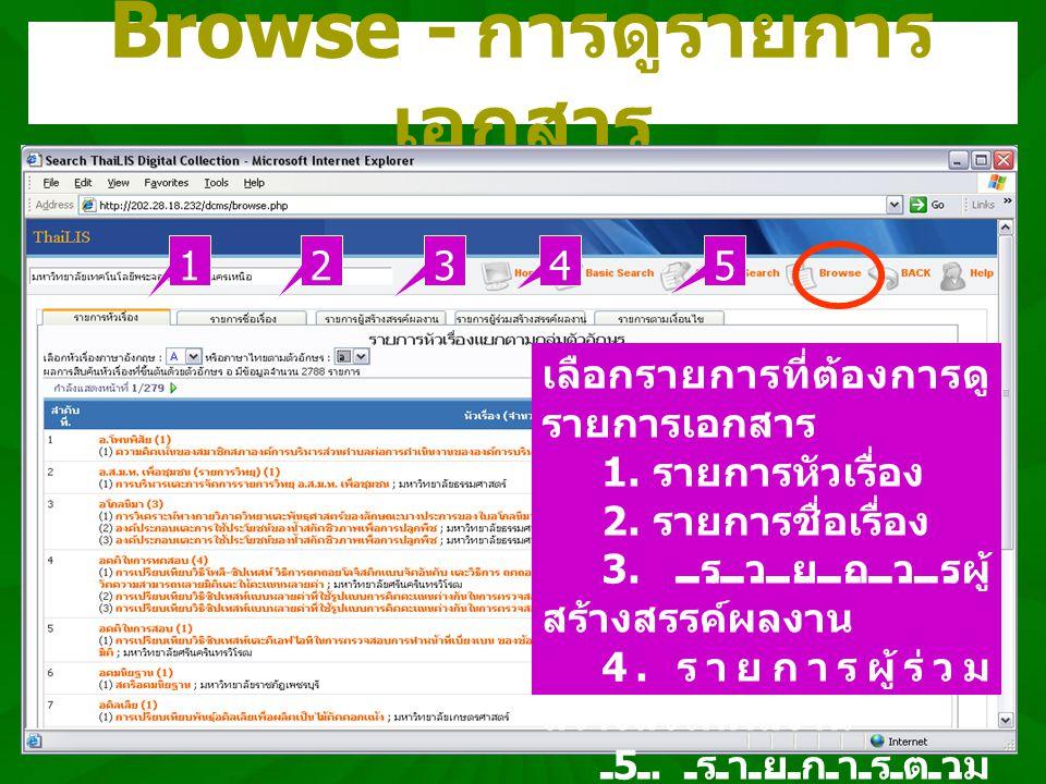 Browse - การดูรายการ เอกสาร เลือกรายการที่ต้องการดู รายการเอกสาร 1. รายการหัวเรื่อง 2. รายการชื่อเรื่อง 3. รายการผู้ สร้างสรรค์ผลงาน 4. รายการผู้ร่วม