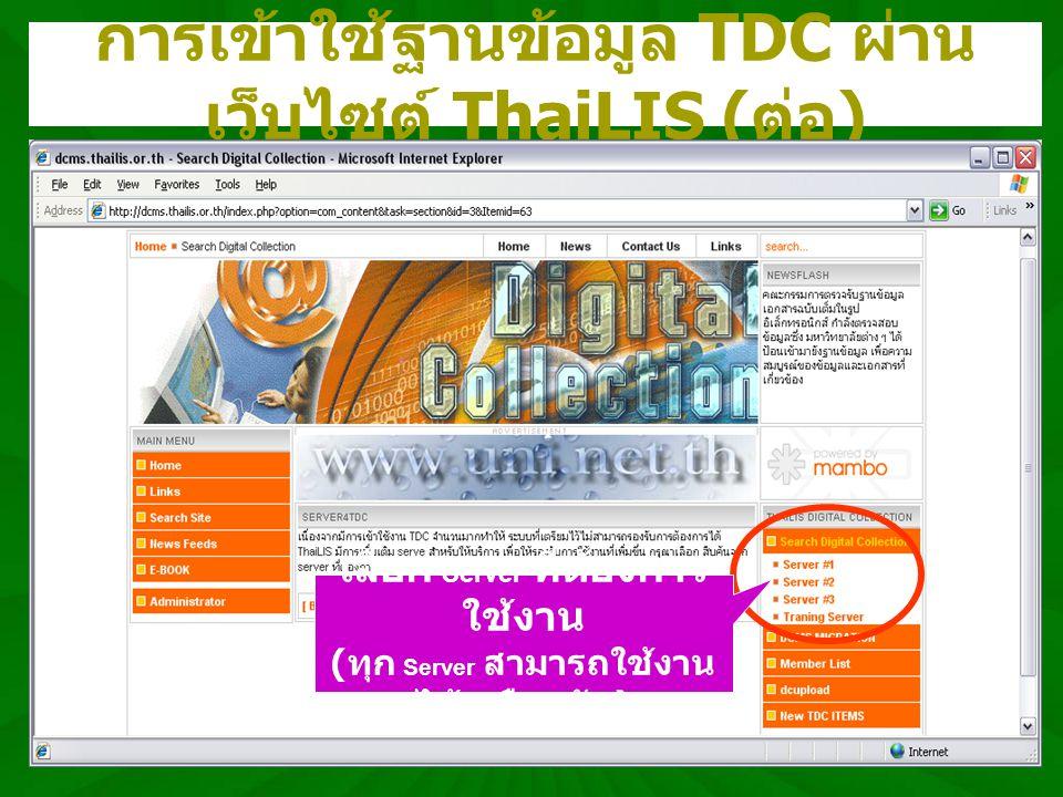 ThaiLIS Digital Collection หน้าจอหลัก ThaiLIS Digital Collection (TDC) แสดงข้อมูล รายละเอียดเกี่ยวกับ TDC