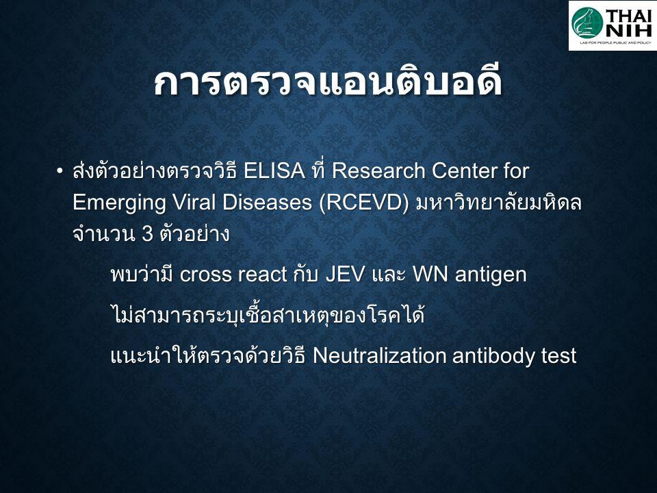 ส่งตัวอย่างตรวจวิธี ELISA ที่ Research Center for Emerging Viral Diseases (RCEVD) มหาวิทยาลัยมหิดล จำนวน 3 ตัวอย่าง ส่งตัวอย่างตรวจวิธี ELISA ที่ Rese