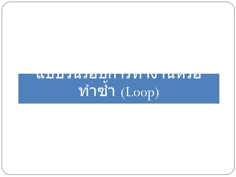 แบบวนรอบการทำงานหรือ ทำซ้ำ (Loop)