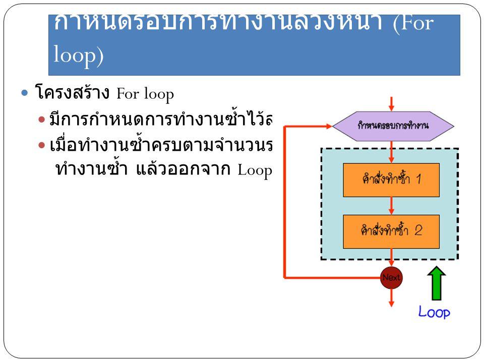 กำหนดรอบการทำงานล่วงหน้า (For loop) โครงสร้าง For loop มีการกำหนดการทำงานซ้ำไว้ล่วงหน้าแล้ว เมื่อทำงานซ้ำครบตามจำนวนรอบ จึงหยุด ทำงานซ้ำ แล้วออกจาก Lo