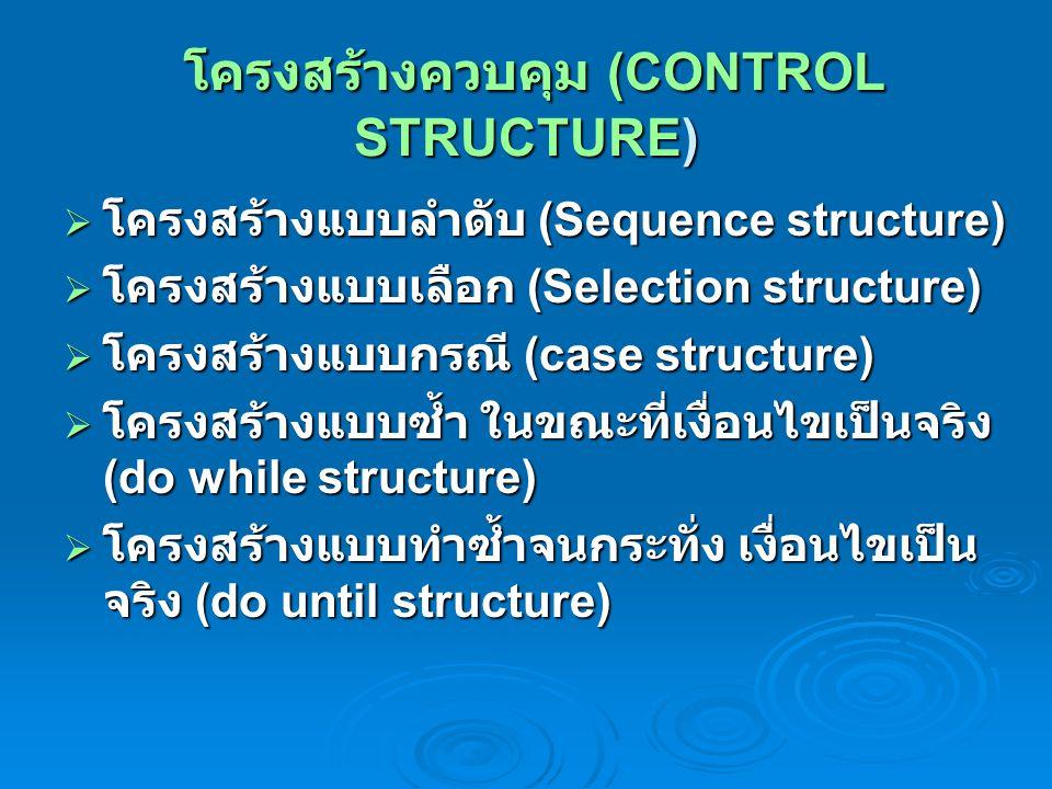 โครงสร้างควบคุม (CONTROL STRUCTURE) โครงสร้างควบคุม (CONTROL STRUCTURE)  โครงสร้างแบบลำดับ (Sequence structure)  โครงสร้างแบบเลือก (Selection struct