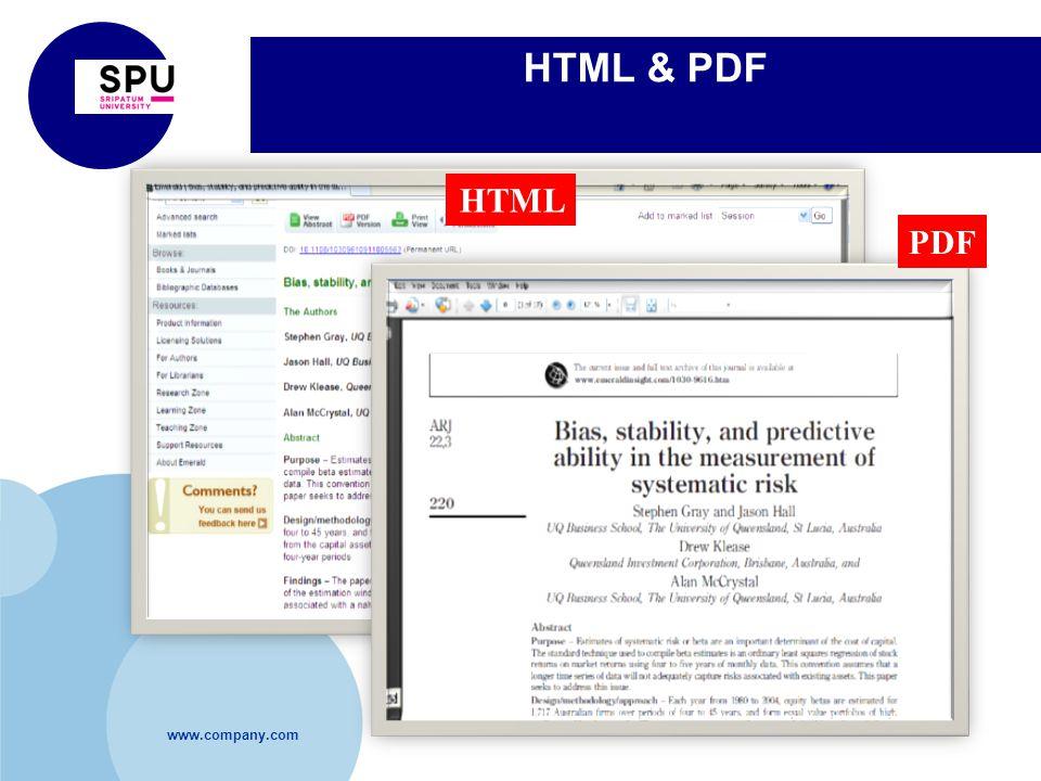 www.company.com HTML & PDF HTML PDF