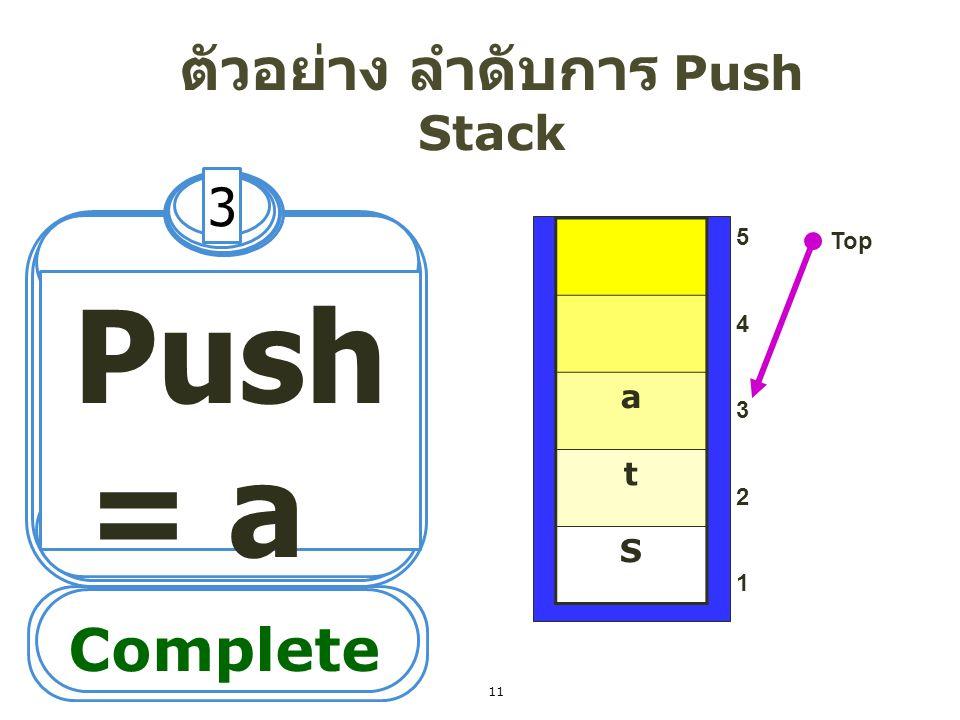 ตัวอย่าง ลำดับการ Push Stack 4 Push = c 5432154321 Top Complete c a t S 12