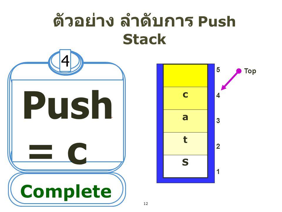 ตัวอย่าง ลำดับการ Push Stack 5 Push = k 5432154321 Top Complete k c a t S 13