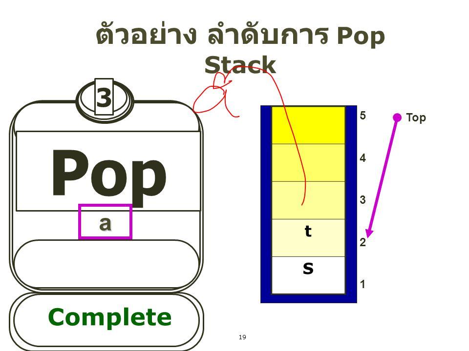 3 Pop ตัวอย่าง ลำดับการ Pop Stack Top Complete a t S 5432154321 19