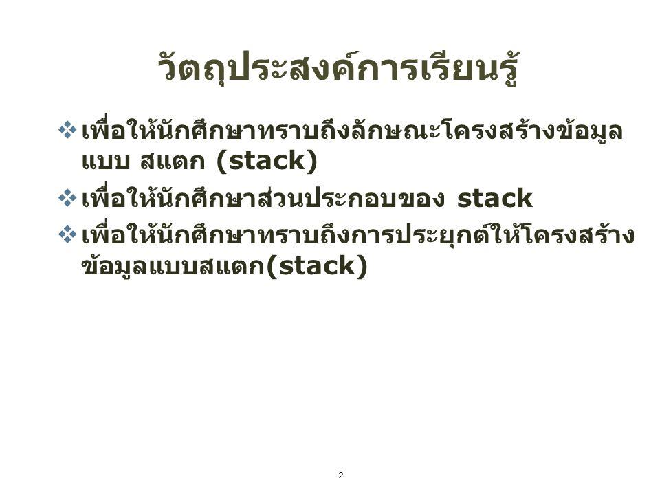ความหมายของสแตก (Stack)  วุฒิพงษ์ เขื่อนดิน (2553 : 61 ) สแตก (Stack) หมายถึง โครงสร้าง ข้อมูลที่ออกแบบมาให้มีลักษณะทั้งแบบ เป็นเชิงเส้น (Linear Structure) และแบบไม่เป็นเชิงเส้น (Non Liear Structure) เพราะเขียนโปรแกรมได้ทั้งการใช้ อาร์เรย์ (Array) และพอยเตอร์ (Pointer) การนำข้อมูลเข้าและออกจากสแตกจะมี ลำดับการทำงานแบบเข้าหลังออกก่อน (LIFO) 3