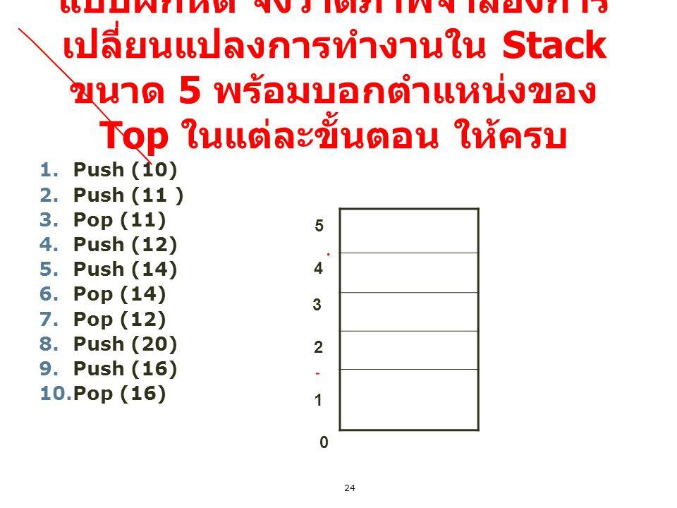 24 แบบฝึกหัด จงวาดภาพจำลองการ เปลี่ยนแปลงการทำงานใน Stack ขนาด 5 พร้อมบอกตำแหน่งของ Top ในแต่ละขั้นตอน ให้ครบ 1.Push (10) 2.Push (11 ) 3.Pop (11) 4.Pu