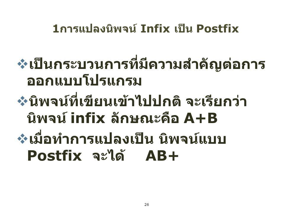 26 1 การแปลงนิพจน์ Infix เป็น Postfix  เป็นกระบวนการที่มีความสำคัญต่อการ ออกแบบโปรแกรม  นิพจน์ที่เขียนเข้าไปปกติ จะเรียกว่า นิพจน์ infix ลักษณะคือ A
