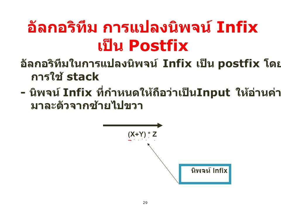 29 อัลกอริทึม การแปลงนิพจน์ Infix เป็น Postfix อัลกอริทึมในการแปลงนิพจน์ Infix เป็น postfix โดย การใช้ stack - นิพจน์ Infix ที่กำหนดให้ถือว่าเป็น Inpu