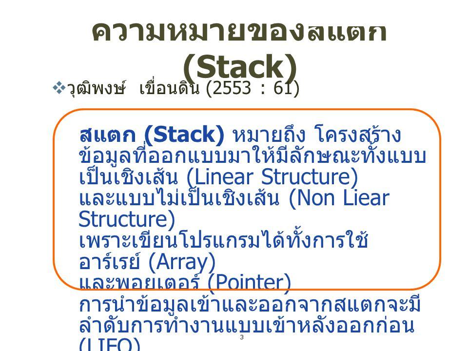 ความหมายของสแตก (Stack)  วุฒิพงษ์ เขื่อนดิน (2553 : 61 ) สแตก (Stack) หมายถึง โครงสร้าง ข้อมูลที่ออกแบบมาให้มีลักษณะทั้งแบบ เป็นเชิงเส้น (Linear Stru