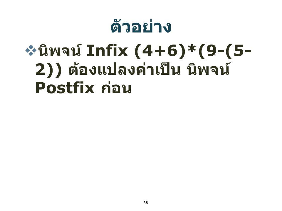 38 ตัวอย่าง  นิพจน์ Infix (4+6)*(9-(5- 2)) ต้องแปลงค่าเป็น นิพจน์ Postfix ก่อน