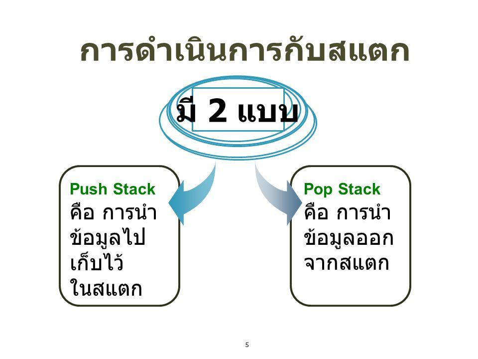 การดำเนินการกับสแตก Push Stack คือ การนำ ข้อมูลไป เก็บไว้ ในสแตก มี 2 แบบ Pop Stack คือ การนำ ข้อมูลออก จากสแตก 5