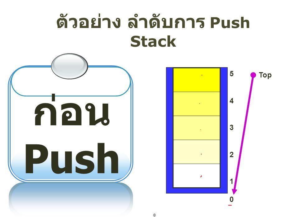 ตัวอย่าง ลำดับการ Push Stack 1 Push = S 5432154321 Top Complete S Top = Top+1; stack[Top] = data; 9