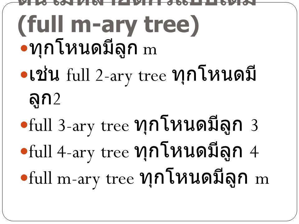ต้นไม้หลายดีกรีแบบเต็ม (full m-ary tree) ทุกโหนดมีลูก m เช่น full 2-ary tree ทุกโหนดมี ลูก 2 full 3-ary tree ทุกโหนดมีลูก 3 full 4-ary tree ทุกโหนดมีล
