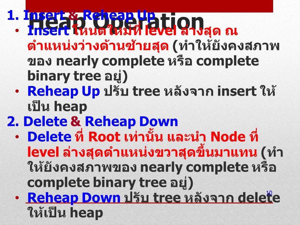 Heap Operation 1. Insert & Reheap Up Insert โหนดใหม่ที่ level ล่างสุด ณ ตำแหน่งว่างด้านซ้ายสุด ( ทำให้ยังคงสภาพ ของ nearly complete หรือ complete bina