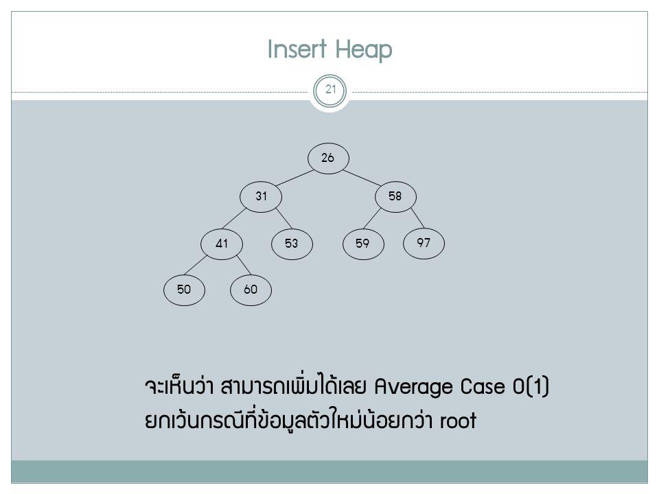 Insert Heap 21 58 31 97 5953 41 6050 จะเห็นว่า สามารถเพิ่มได้เลย Average Case O(1) 26 ยกเว้นกรณีที่ข้อมูลตัวใหม่น้อยกว่า root