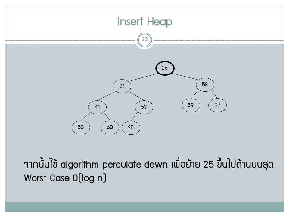 Insert Heap 23 26 58 31 97 59 53 41 6050 25 จากนั้นใช้ algorithm perculate down เพื่อย้าย 25 ขึ้นไปด้านบนสุด Worst Case O(log n)