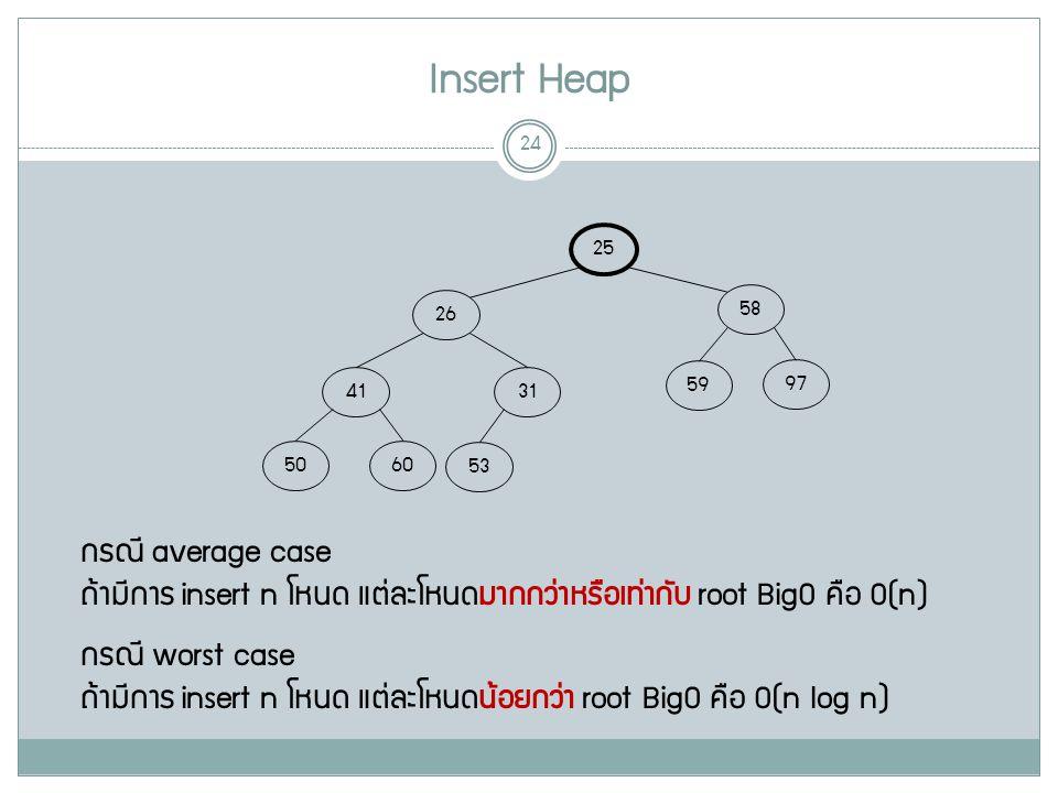 Insert Heap 24 25 58 26 97 59 31 41 6050 53 กรณี average case ถ้ามีการ insert n โหนด แต่ละโหนดมากกว่าหรือเท่ากับ root BigO คือ O(n) กรณี worst case ถ้ามีการ insert n โหนด แต่ละโหนดน้อยกว่า root BigO คือ O(n log n)