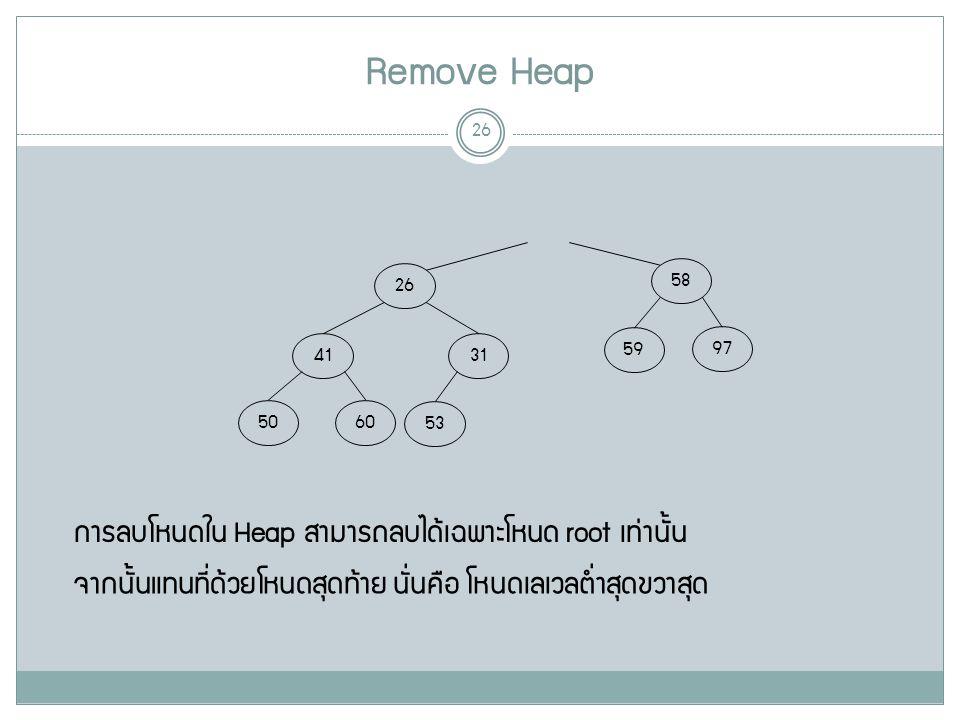 Remove Heap 26 58 26 97 59 31 41 6050 53 การลบโหนดใน Heap สามารถลบได้เฉพาะโหนด root เท่านั้น จากนั้นแทนที่ด้วยโหนดสุดท้าย นั่นคือ โหนดเลเวลต่ำสุดขวาสุด
