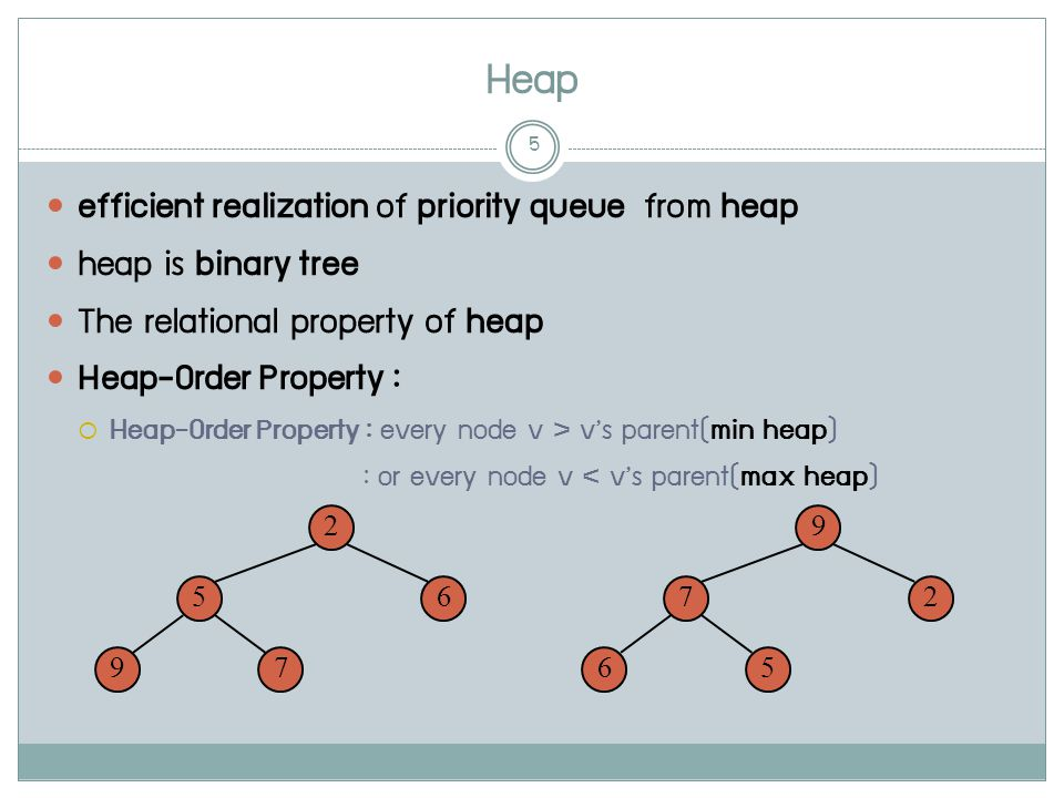 Heap 5 efficient realization of priority queue from heap heap is binary tree The relational property of heap Heap-Order Property :  Heap-Order Property : every node v > v's parent(min heap) : or every node v < v's parent(max heap) 2 65 79 9 27 56