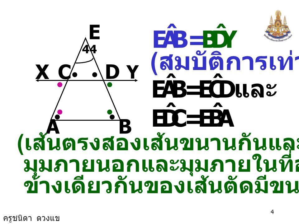 ครูชนิดา ดวงแข 3 ( มุมที่ฐานของรูป  หน้าจั่ว ) AB D Y CX E 44 BAE ˆ = ABE ˆ BAE ˆ = XCA ˆ และ DBA ˆ = YDB ˆ ( เส้นตรงสองเส้น ขนานกันและมีเส้นตัด แล