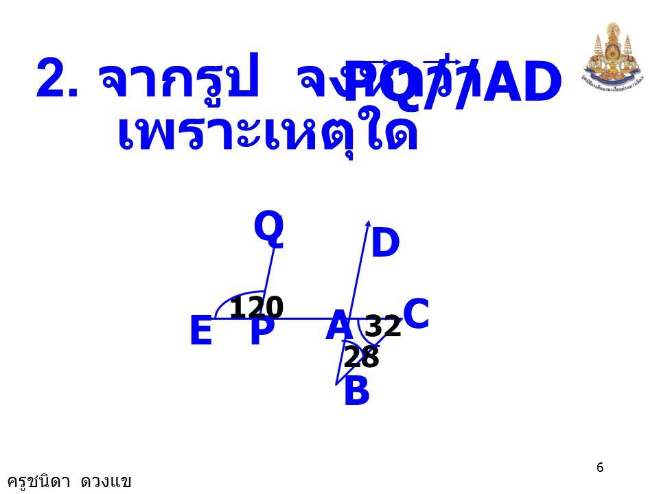 ครูชนิดา ดวงแข 5 AB D Y CX E 44 ดังนั้น BAE ˆ + ABE ˆ = 180 - 44 = 136 BAE ˆ = 2 136 BAE ˆ = 68 0 ABE ˆ BAE ˆ = CDE ˆ = YDB ˆ = XCA ˆ = DCE ˆ =