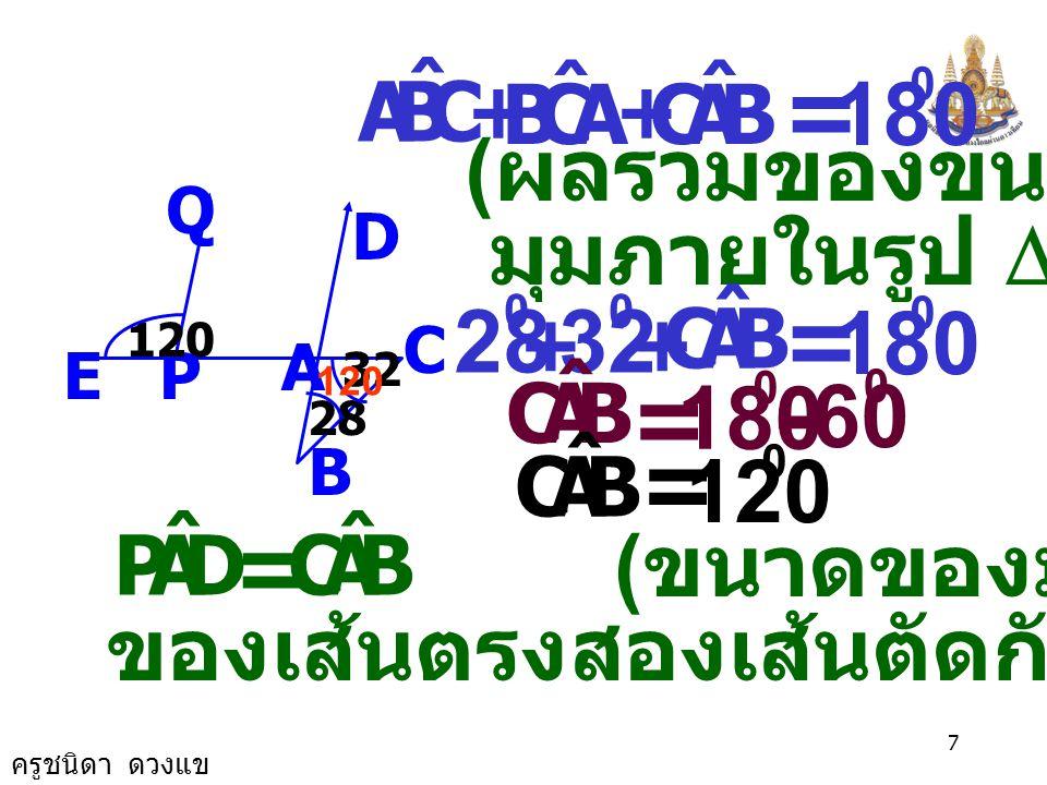 ครูชนิดา ดวงแข 6 2. จากรูป จงหาว่า หรือไม่ เพราะเหตุใด PQ//AD C B A D Q PE 120 28 32