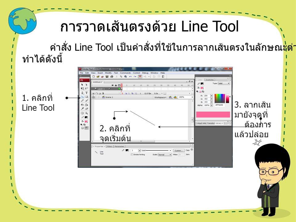 การวาดเส้นตรงด้วย Line Tool คำสั่ง Line Tool เป็นคำสั่งที่ใช้ในการลากเส้นตรงในลักษณะต่างๆ การใช้งานคำสั่ง Line Tool ทำได้ดังนี้ 1. คลิกที่ Line Tool 2