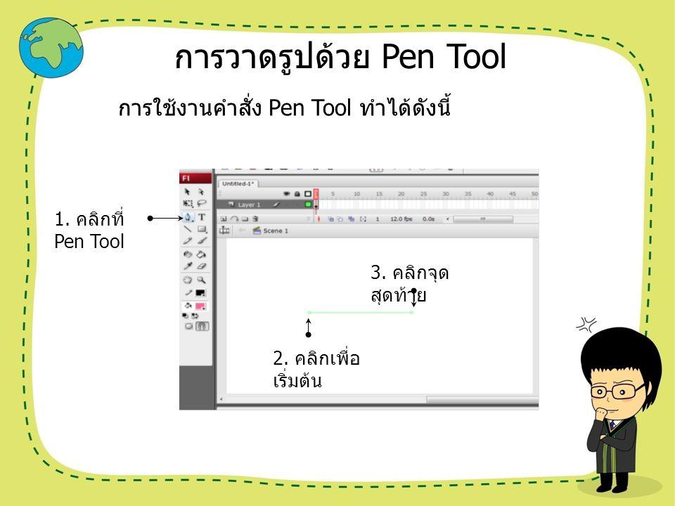 การวาดรูปด้วย Pen Tool การใช้งานคำสั่ง Pen Tool ทำได้ดังนี้ 1. คลิกที่ Pen Tool 2. คลิกเพื่อ เริ่มต้น 3. คลิกจุด สุดท้าย