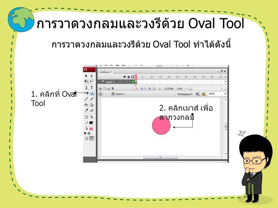 การวาดวงกลมและวงรีด้วย Oval Tool การวาดวงกลมและวงรีด้วย Oval Tool ทำได้ดังนี้ 1. คลิกที่ Oval Tool 2. คลิกเมาส์ เพื่อ ลากวงกลม
