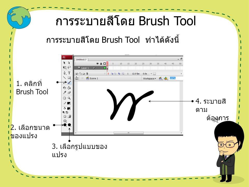 การระบายสีโดย Brush Tool การระบายสีโดย Brush Tool ทำได้ดังนี้ 1. คลิกที่ Brush Tool 2. เลือกขนาด ของแปรง 3. เลือกรูปแบบของ แปรง 4. ระบายสี ตาม ต้องการ