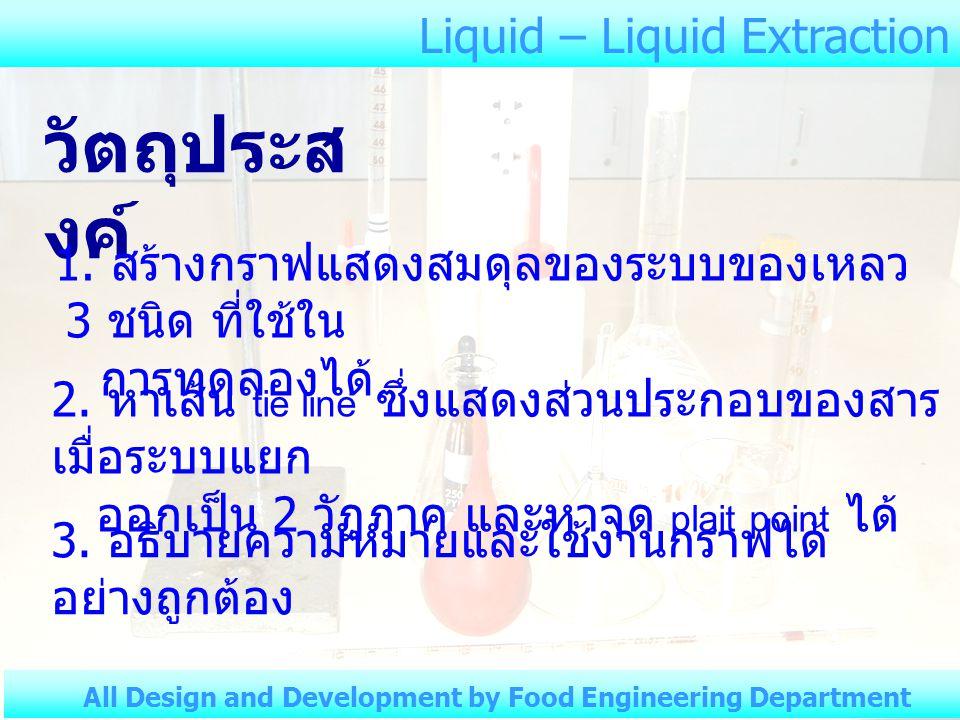 Liquid – Liquid Extraction All Design and Development by Food Engineering Department ตารางที่ 2 Chloroform – Acetic acid – Water, Liquid – Liquid Extraction อุณหภูมิห้อง.............