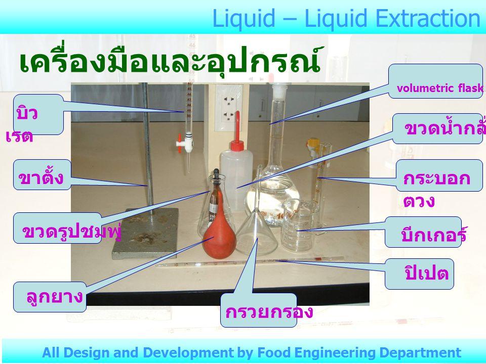 Liquid – Liquid Extraction All Design and Development by Food Engineering Department เครื่องมือและอุปกรณ์ ขาตั้ง ขวดน้ำกลั่น volumetric flask กระบอก ตวง ปิเปต กรวยกรอง บีกเกอร์ ลูกยาง ขวดรูปชมพู่ บิว เรต